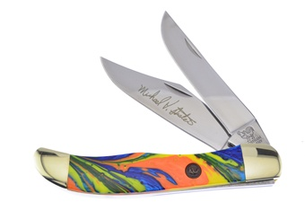 """5.25"""" Michael Prater Hen + Rooster Feather Macaw Hunter"""