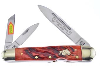 """4"""" Dark Red Jigged Bone Locking Whittler"""