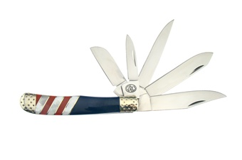 Prototype Red/White/Blue 5-Blade Trapper (1pc