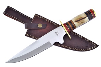 Closeout Stag/Pakkawood/Leather Bowie (1pc)