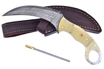 Closeout White Smoothbone Damascus Karambit (1pc)