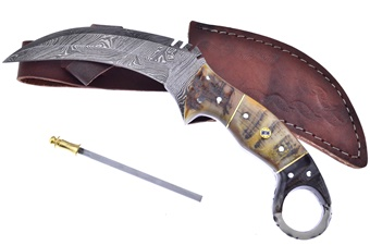 Closeout Ram's Horn Damascus Karambit (1pc