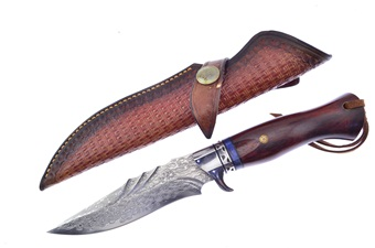 One Of A Kind Damascus Wood Bowie (1)