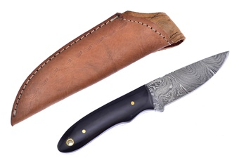 One Of A Kind Buffalo Horn Damascus Skinner (1pc)