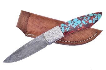 Michael Prater H&R Turquoise Chunk Damascus (1pc)