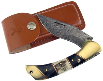 Trophy Stag Damascus Folding Hunter (1pc