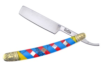 "4"" Mother Of Pearl/Yellow/Red/Blue Turquoise Razor"