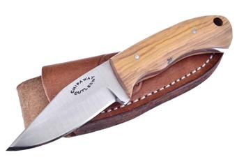 "6"" Olivewood Skinner w/Leather Sheath"
