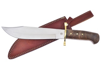 "16"" Walnut Wood Bowie w/Sheath"