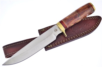 "12"" Brown Bone Fixed Blade w/Leather Sheath"