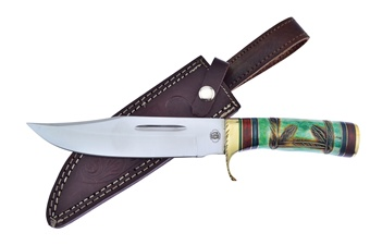"12"" Green Bone Bowie w/Sheath"