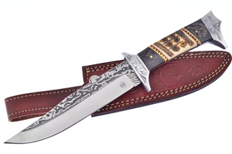 "12"" Pakkawood Bone Full Tang Leather Sheath"