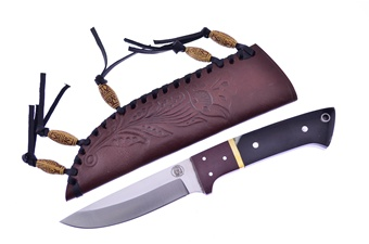 "8.25"" Buffalo Horn/Micarta Bowie w/Sheath"