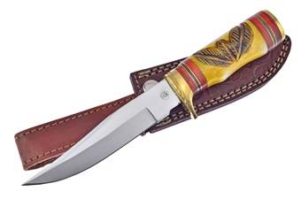 "10"" Yellow Bone Bowie w/Leather Sheath"