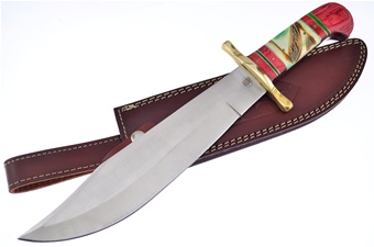 "16"" Red Wood/Bone Bowie w/Leather Sheath"