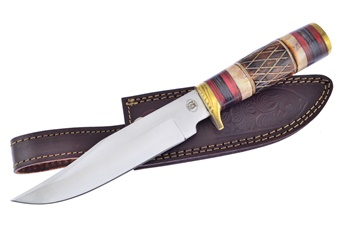 "12"" Brown Bone Stainless Steel Bowie w/Leather Sheath"