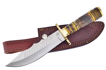 """12"""" Yellow Brown Bone Stainless Steel Leather Sheath"""