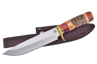 "12"" Yellow Bone Stainless Steel Blade Bowie w/Leather Sheath"