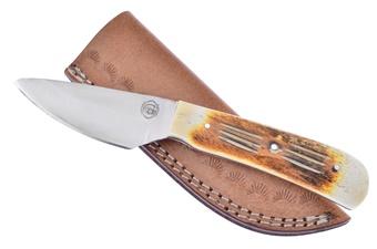 """8"""" Torchbone Full Tang Skinner w/Leather Sheath"""