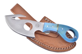 "7"" Blue Smoothbone Full Tang Skinner w/Leather Sheath"