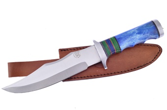 """12""""Overall Blue Smoothbone Bowie Leather Sheath"""