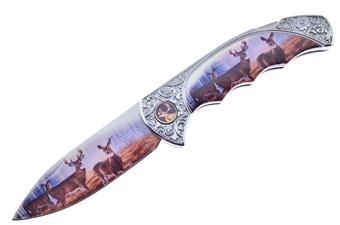 """4"""" Deer Lockback w/Deer Print Stainless Steel Blade"""