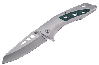 "4.5"" Stainless Steel Green G10 Insert Assisted Folder"