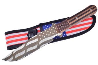 """11"""" American Flag Pakkawood Bowie w/Sheath"""
