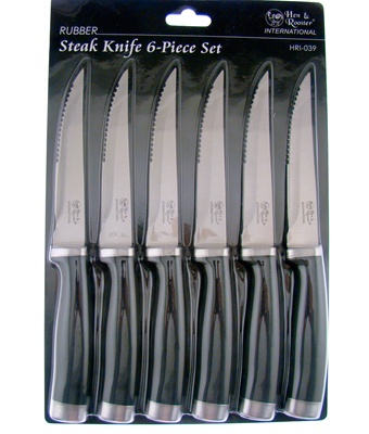 "8.75"" 6pc Black Rubberized Steak Set"