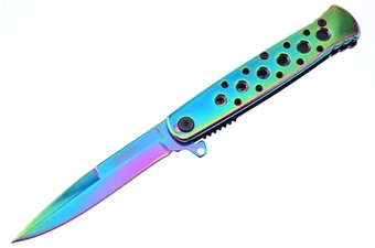 "4"" Rainbow Titanium Italian Stiletto"