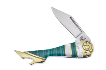"3.25"" Green Turquoise/Mother Of Pearl Leg Knife"