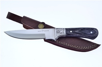 "9.5"" Silver Wood Embossed Hunter w/Sheath"