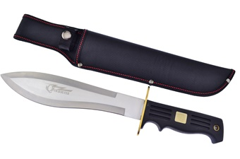"15"" Black Rubberized Handle Bowie w/Nylon Sheath"