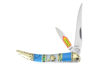 """3"""" Turquoise/Abalone/Mother Of Pearl 2-Blade Toothpick"""