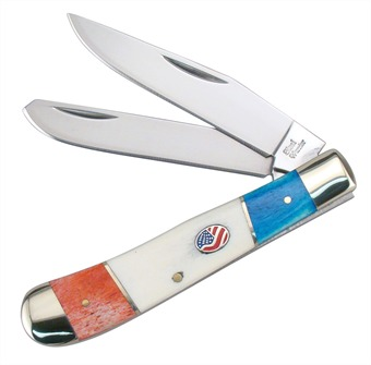 "4.25"" American Flag Red/White/Blue Smoothbone Trapper"