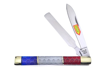 """3.75"""" Red/White/Blue Honeycomb Doctor's Knife"""