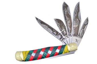 "4.25"" Turquoise/Mother Of Pearl 5-Blade Trapper"