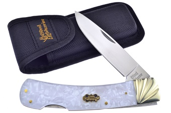 "5.75"" Saltwater Mother Of Pearl Lockback w/Sheath"