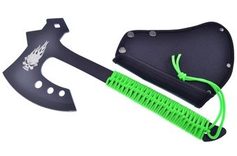 """13"""" Black Stainless Steel Green Handle Deco Axe"""