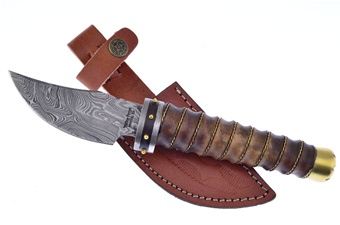 "10.5"" Damascus Walnut Wood w/ Leather Sheath"