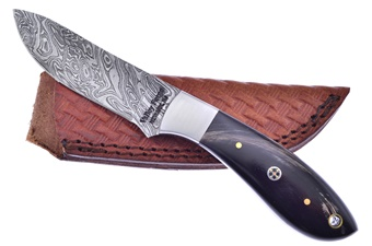 "7.75"" Buffalo Horn Damascus Skinner w/Sheath"