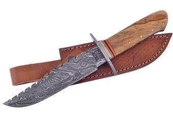 """11.5"""" Olive Wood Damascus Leather Sheath"""