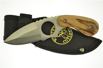 "6"" Zebra Wood Skinner w/Sheath"