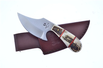 """6"""" Stacked Stag Skinner w/Leather Sheath"""