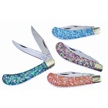 CCN-52676 ABALONE SADDLEHORN  (4PCS) [Cherokee Stoneworks • Pocket Knives]
