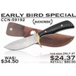 CCN-59192 EARLY BIRD SPECIAL (1PC) [Buck Creek • Fixed Blades & Hunters • Bowies]