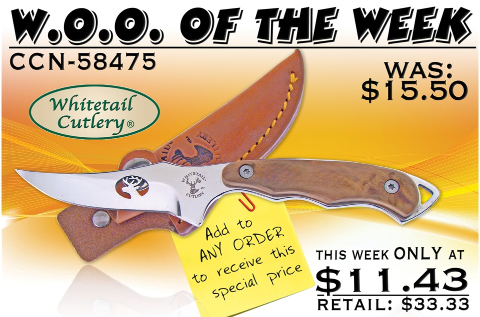 CCN-58475 WOO OF THE WEEK (1PC) [Whitetail Cutlery • Fixed Blades & Hunters • Skinning Knives]