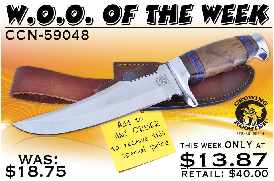 CCN-59048 Woo Of The Week  [Crowing Rooster • Fixed Blades & Hunters • Bowies]