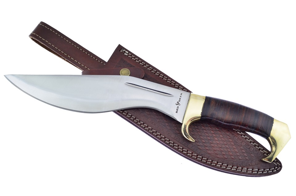 CCN-59082 Red Deer Leather Stack Pro  [Red Deer • Fixed Blades & Hunters • Bowies]